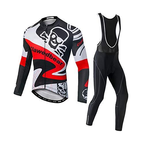Ropa De Ciclismo para Hombres, Medias De Babero Ciclismo De Manga Larga Jersey, Ropa De Bicicleta Cremallera Completa MTB Ropa De Ciclismo, Traje para Bicicleta De Carreras (I,XXXL)