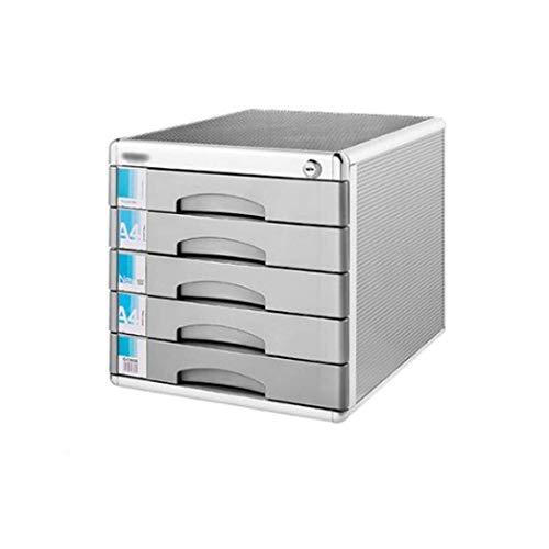 WEI-LUONG Aleación de aluminio de cajones clasificadores, 5 capas con cerradura de mesa de oficina de escritorio del cajón del armario grande de datos Periódico Bastidores (Tamaño: 12 pulgadas * * 14.