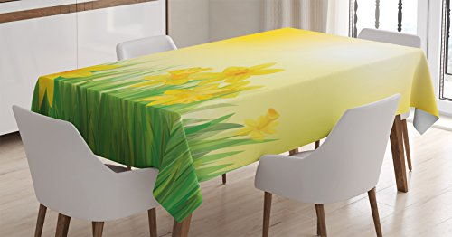 Ambesonne Decor Mantel Narciso, Narciso flores en primavera Prado Campo Naturaleza sol ilustración, funda para mesa rectangular para comedor cocina, 60x 84cm, amarillo y verde