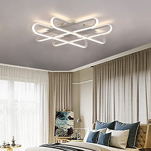 Lámpara de techo moderna LED blanca regulable con mando a distancia diseño de anillo 4 focos 32 W lámpara de techo colgante para salón oficina habitación de los niños comedor pantalla acrílica