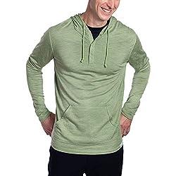 Woolly Clothing Men's Merino Wool Henley Hoodie - Everyday Weight - Wicking Breathable Anti-Odor