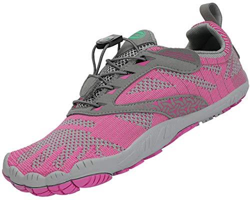 SAGUARO Hombre Zapatillas de Trail Running Minimalistas Mujer Barefoot Zapatillas de Deporte Interior Rosa 39