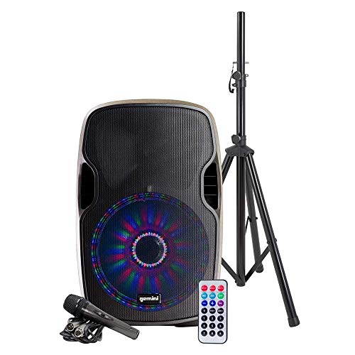 "Gemini as Series AS-15BLU-LT-PK Bluetooth Portable Party Speakers Bundle, 15"" 2000W Active PA Loudspeaker with LED Lighting, Heavy Duty Speaker Stand, Remote, Microphone"