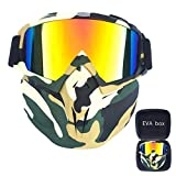 FMC Motocross Goggles, Motorrad-Sonnenbrille Staubbrille Removable Goggles Winddichtes, Gesichtsmaske für Outdoor Off-Road Motocross Bike,E