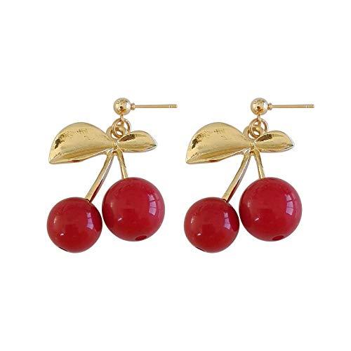 Hoja De Color Dorado Pendientes Grandes Rojos Rojos Cerezo Cerezas De Vidrio Fruta Colgante Pendientes De Clip para Mujer Señora