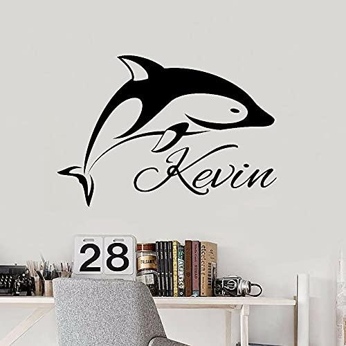 HFDHFH Pegatinas de Pared con Delfines, Dormitorio Infantil, decoración del hogar, Pegatinas de Pared para el Suelo, Arte de Regalo de Ducha, 74X107 CM