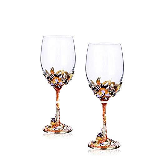 Jarra de Cerveza El esmalte pintado a mano de la vendimia Regalos de lujo esmalte Copa del vidrio cristalino del cáliz del vino rojo de cristal Wedding tostando los vidrios de Champán Decoraci
