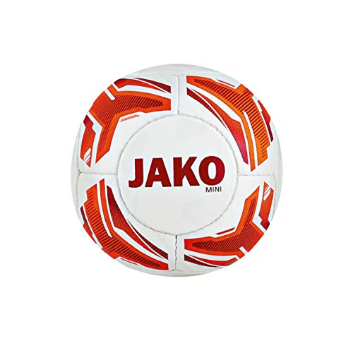 JAKO Miniball Striker Fußbälle, weiß/Neonorange/Rot, 1