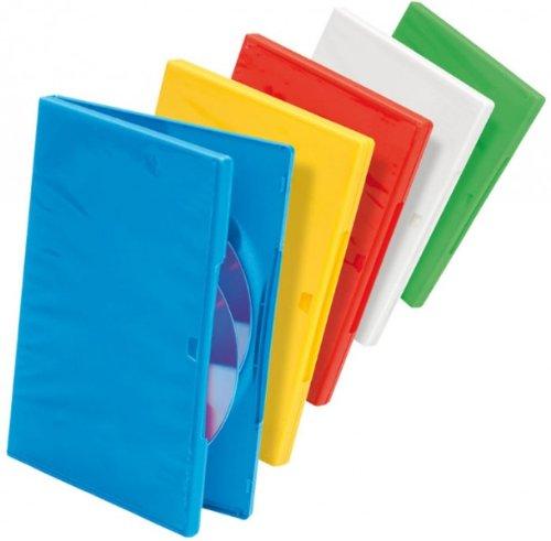 Ednet 91784 - 10 Custodie Double DVD da 14 mm - 2 per Colore (Blu, Verde, Giallo, Rosso, Bianco)