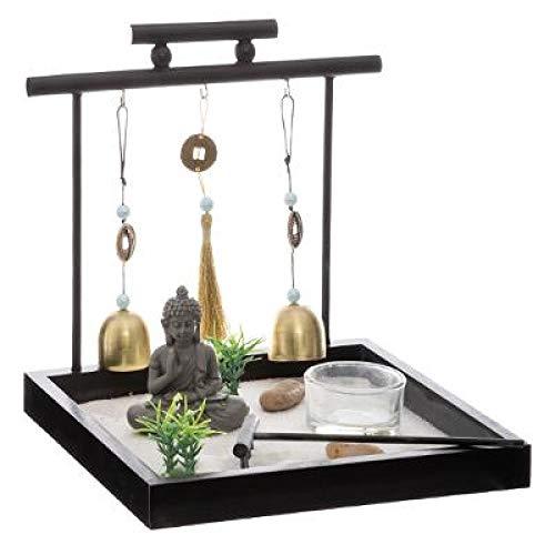Ducomi Giardino Zen da Tavolo con Vassoio, Sabbia, Statuetta Buddha, Roccia - Kit Meditazione Giapponese - Accessori Casa Arredamento Interni Decorazione Idea Regalo (Ukiyo)