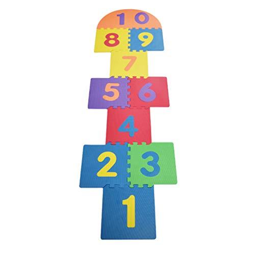 STOBOK Tapis de Marelle en Mousse pour Enfants Puzzle en Mousse de Nombres Tapis de Jeu Puzzle Éducatif Jouets Éducatifs pour Filles Et Garçons de 3 4 5 6 Ans (Treillis 10Pcs Et Plaque Ronde 2Pcs)