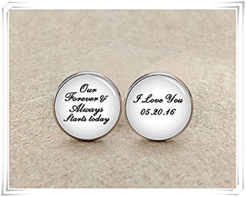Nos Forever et toujours commencer aujourd'hui, I love you Boutons de manchette, personnalisé Date Cadeau