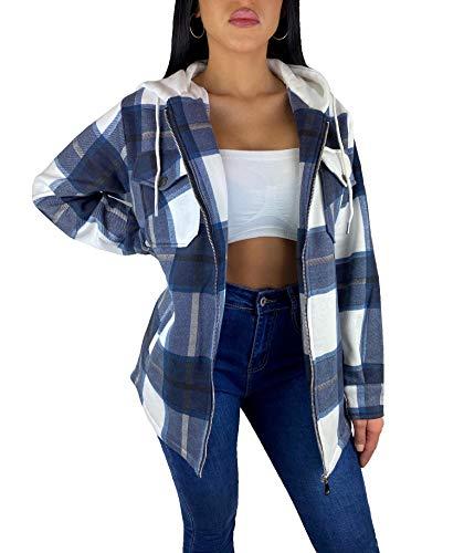 Worldclassca Damen Oversized HOLZFÄLLERHEMD HEMDJACKE MIT Kapuze KARO Hemd KARIERT LANGARMHEND Brusttaschen HEMDBLUSE Bluse Shirt Designer Fashion Blogger NEU XS-L 36-44 (M, M-6)