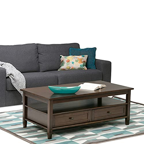 SIMPLIHOME Warm Shaker SOLID WOOD 48 inch Wide Rectangle Rustic Coffee Table in Tobacco Brown, for...