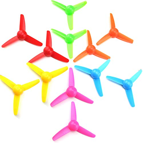 EKIND 12 Pcs Propeller 80mm Props 3-Blade Propeller 2mm Shaft for Fan Leaves Ship Model RC Aircraft Boat DIY Airplane Science and Education Toys (6 Color)