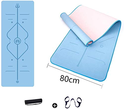Double Layer Yoga Mat with Alignment Lines, Eco-Friendly TPE 8mm Thick Workout Exercise Mat, Non Slip Textured Pilates Mats, Tear Resistant High Density Padding, Perfect for Gym and Fitness