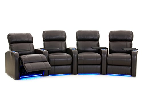 Octane Seating Diesel XS950 Theater Chairs Brown Top-Grain Leather - Power Recline - Curved Row of 4 Seats
