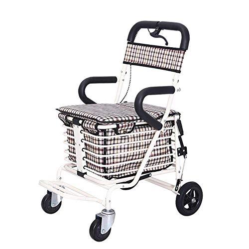 Z-SEAT 2 In 1 Funktion Leichtes Stahlrohr Faltbare tragbare Rollatoren 4 Rad mit Sitz für ältere Menschen Einkaufswagen Wagen mit Einkaufskorb