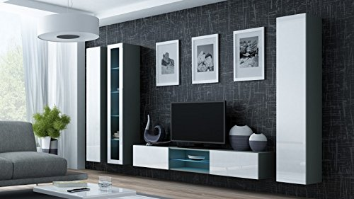 Jadella Wohnwand ' Vigo Glass I ' Glasvitrine Hängend Hochglanz Matt, Farbe:Grau Weiß