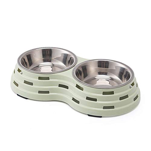 Hundenapf Pet Double Bowl Edelstahl Katze Hund Fütterung Futternäpfe Trinkwasser Dish Welpe Kätzchen Feeder Haustiere Geschirr S25X14X5Cm Grün