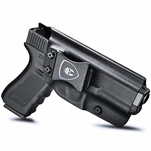 Compatible with Glock 19 Holster, IWB Kydex Holster Fit: Glock 17 Glock 19 19X Glock 26 32 Glock 44 Glock 45 Gen (5 4 3 2 1) Pistol, Inside Waistband Holster Condealed Carry, Adj. Cant & Retention