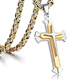 Jewelry Stainless Steel Cross Pendant Necklace Mens Boys Chain 5mm Byzantine Gold Genuine Cuban Link Curb Chain 20-30inch (Pendant with 28' Chain)