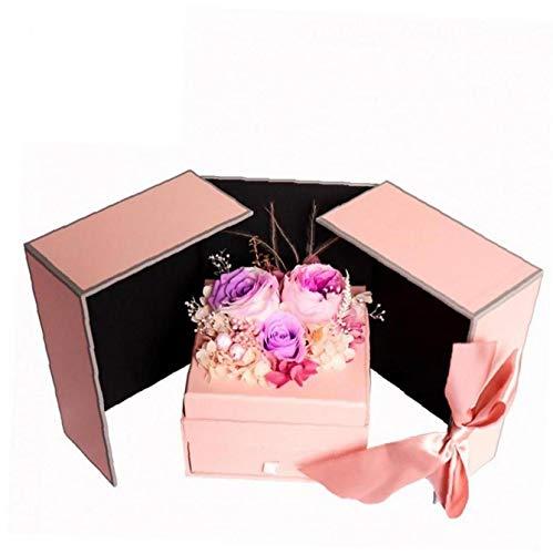 Boîte À Bijoux Collier Drawer Préservée Fleur Cadeau Boîte Boucle D'oreille Organisateur Saint Valentin Cadeau D'alimentation Pourpre 1pc