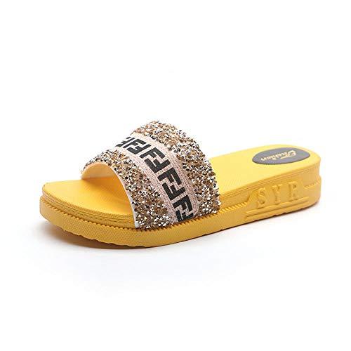 XLLJA Kinder Dusch-& Badeschuhe,Hausschuhe weiblich Xia flachen Boden glänzenden Kristall Mode rutschfeste Fischgrätenbuchstaben Sandalen und Hausschuhe-gelb-EU36