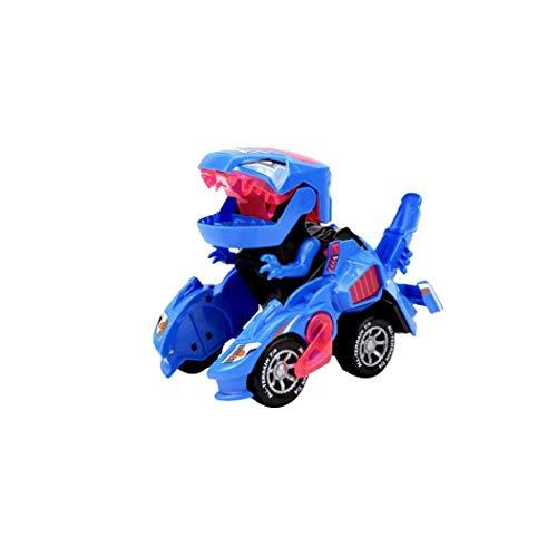 Portátil Dinosaurio Deformado Coches Niños Rompecabezas Educativos Eléctrico De Coches De Juguete Dinosaurio Eléctrico Deformado Chariot Juguetes Para Niños Al Aire Libre Para La Cubierta 1ponga Azul