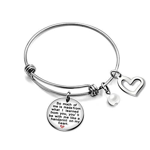 Brazalete para profesor, con un colgante con inscripción en inglés, una perla y un corazón; regalo para profesor de Navidad