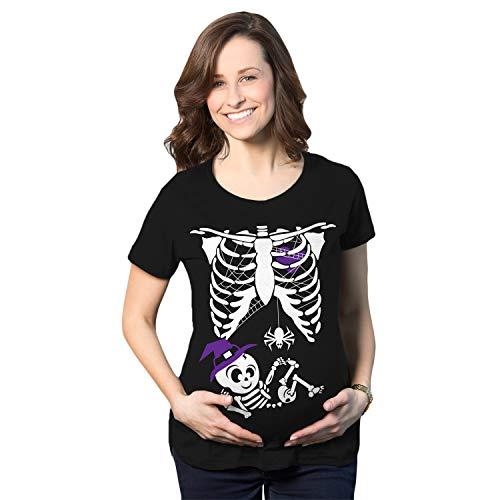 Crazy Dog Tshirts - Maternity Witch Baby Bump Skeleton Cute Pregnancy Tshirt Halloween Night (Black) - S - Camiseta De Maternidad