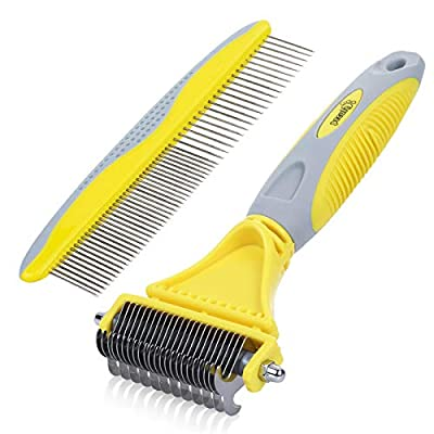 Pecute Grooming Dematting Comb Tool Kit - Double Sided Blade Rake Comb Grooming Comb - Removes Loose Undercoat, Knots, Mats and Tangled Hair(Yellow+Grey)