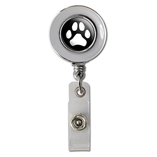 Paw Print Dog Cat White on Black Retractable Reel Chrome Badge ID Card Holder Clip