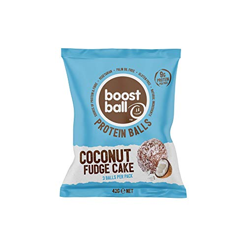 Boostball Proteinbälle, High Eiweißriegel, Glutenfrei, Proteinriegel Alternative - Kokosnuss-Fudge-Kuchen-Geschmack, 12 stück