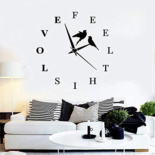 WERWN Reloj de Pared Creativo, Pegatina con Letras, sensación de Amor, Pegatina de pájaro, innovación, decoración del hogar, Reloj, Dormitorio, Sala de Estar, decoración