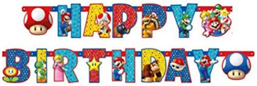 ILS I LOVE SHOPPING Festone Buon Compleanno Ghirlanda Snodabile Happy Birthday 190 X 18 Cm Multicolore (Super Mario, Festone)