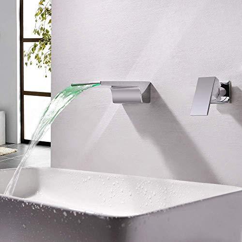 Pyrojewel Moderna del cromo LED de control de temperatura luminiscentes cambio de color caliente y fría del grifo de la cascada de Split 2 Agujero en la pared oculta baño grifo de la bañera grifo herm