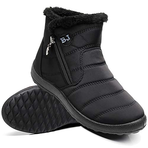 Ymombest Women Lightweight Snow Boots Winter Anti-Slip Ankle Booties Waterproof Slip On Side Zipper Warm Fur Lined Shoes Black
