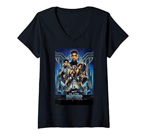 Womens Marvel Black Panther Main Cast Movie Poster V-Neck T-Shirt