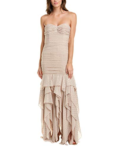 HALSTON Women's Strapeless Pleated Metallic Gown, Champagne/Gold, 4 (Apparel)