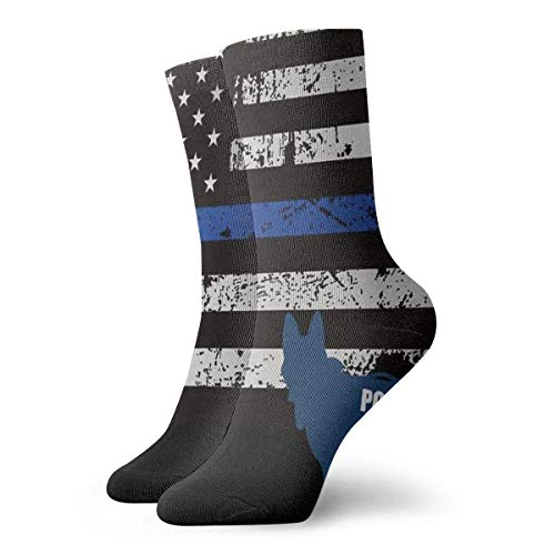 QUEMIN Calcetines transpirables perro policía americano único calcetín de tripulación exótico moderno mujeres y hombres calcetines deportivos estampados calcetines de 30 cm