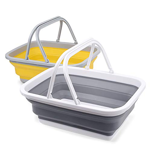 2 Pack Collapsible Sinks -Camping Picnic Baskets 10L/2.64 Gal - Foldable Ice Buckets with Sturdy Handle for Washing Dishes,Hiking,RV and Home - Portable Outdoor Wash Basin/Dishwashing Tub(Grey/Yellow)
