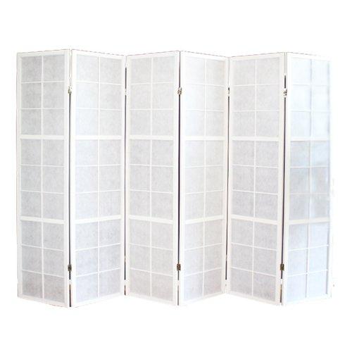 PEGANE Biombo japonés Shoji Madera Blanco 6 Paneles