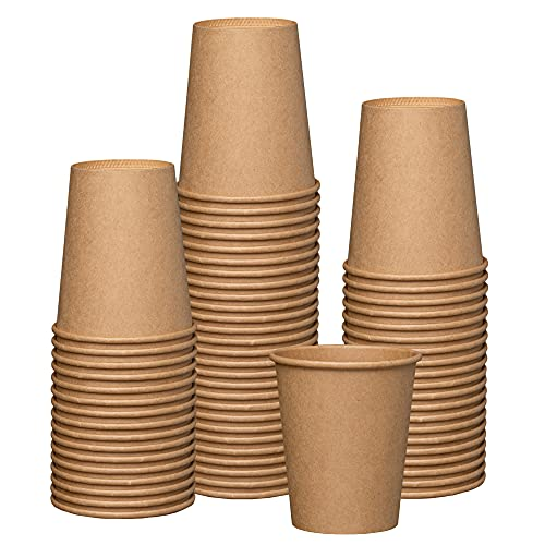 [100 Pack] 8 oz. Kraft Paper Hot Coffee Cups- Unbleached