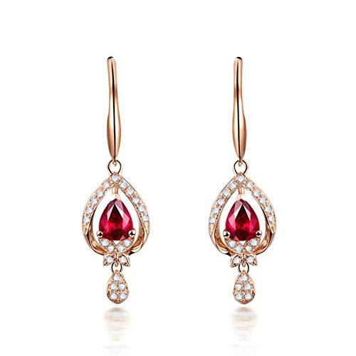 Beydodo Damen Ohrhänger 18 Karat Rotgold 750, Tropfen mit 1ct Rubin Rosegold Ohrringe Diamant Echt Schmuck Nickelfrei