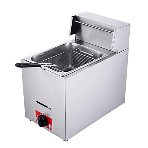 GCZZYMX Deep Fryer 6L Commercial Large Capacity Gas Deep Fat Fryer Manual Tempering Household French Fries Machine with Basket,6L
