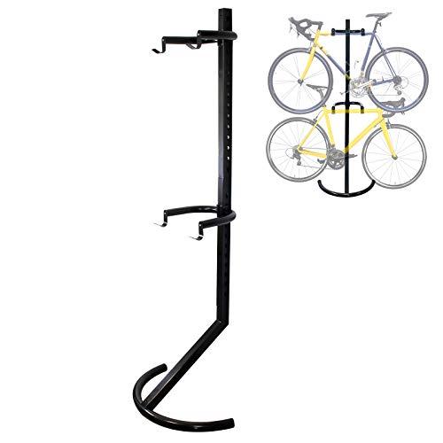 WilTec Soporte 2 Bicicletas hasta 90kg Sistema de Colgar con Brazos de sujeción Soporte bicis por Gravedad