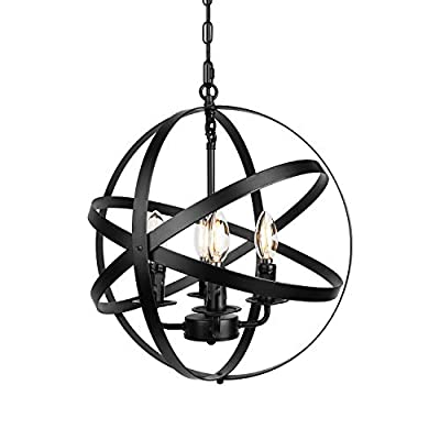 4-Light Farmhouse Black Chandelier Industrial Pendant Lighting with Globe Metal Shade Hanging for Dining Room Kitchen Island Living Room Bedroom Foyer
