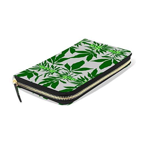 Ahomy - Monedero de Piel para Mujer, diseño Abstracto de Marihuana con brotes para Tarjetas de crédito, Cartera Larga