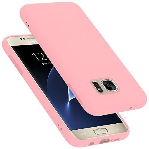 Cadorabo Custodia per Samsung Galaxy S7 in Liquid Rosa - Morbida Cover Protettiva Sottile di Silicone TPU con Bordo Protezione - Ultra Slim Case Antiurto Gel Back Bumper Guscio